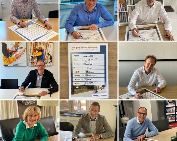 Collage tekenen nieuwe contractvorm circulair bouwen